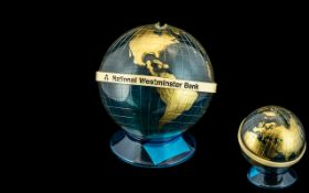 National Westminster Perflex Globe / World Money Box on Stand. From the 1980's. 4.5 Inches - 11.