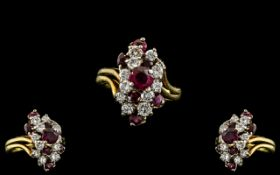 Ladies 18ct Gold Contemporary Ruby and Diamond Set Ring. Marked 18ct to Interior of Shank.