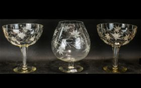 Set of Three Over Large Glasses, with engraved pattern,