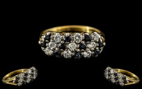 Ladies Attractive 18ct Gold - Diamond and Sapphire Set Dress Ring, Excellent Design.