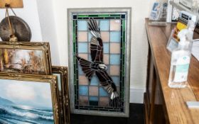 Large Framed Leaded Stained Glass Panel depicting a red kite in full flight.