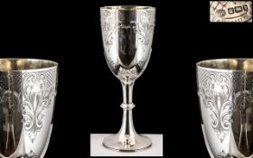 Late Victorian Period Large and Impressive Sterling Silver Chalice by John Round,