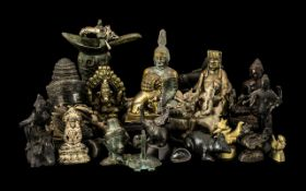 Large Collection of Bronze Buddhas,