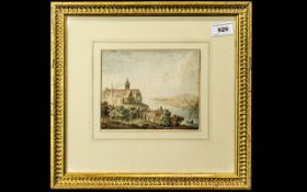 Small Continental Watercolour Drawing depicting a river landscape with a castle; unsigned, c1830s,