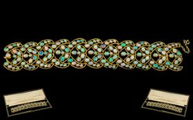 Antique Period - Important and Stunning 18ct Gold Opal Set Bracelet of Large Proportions and