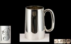 George VI Good Quality Sterling Silver Tankard / Cup of Plain Form with C Shaped Handle.