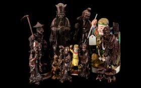 Collection of Chinese Carved Cherrywood Figures of fishermen,