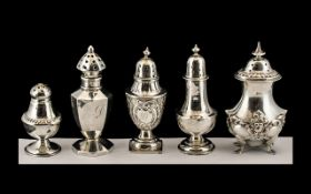 A Small Collection of Antique Period Sterling Silver Pepperettes All of Small Proportions and