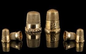 Antique Period - Pair of Superb 9ct Gold Thimbles, Both with Full Hallmarks for 9.