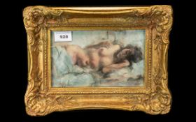 G A Hyde Oil Painting /Mixed Media on Board depicting a female nude; framed and glazed,