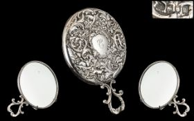 Edwardian Stunning Quality and Superior Ladies Embossed Sterling Silver Round Hand Mirror with