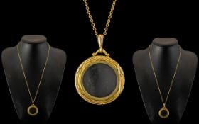 Antique Period - Nice Quality 9ct Gold Circular Locket / Pendant with Attached Later 9ct Gold Chain.