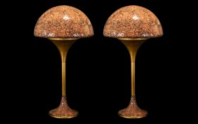 """Pair of Modernist Glass Table Lamps of crackled dome design, height 26""""."""