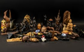 Collection of Small Oriental Items, comprising small carved elephants, wooden figures, birds,