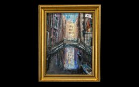 Crabtree Mixed Media Painting depicting The Bridge of Sighs in Venice,
