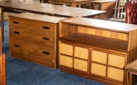 Parker Knoll Small Teak Bow Fronted Corner Cabinet, with a matching cupboard and a Natham type,