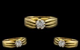 18ct Yellow Gold - Superb Single Stone Diamond Set Ring - Gypsy Setting.