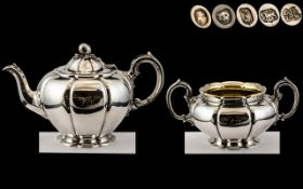 Barnard Brothers - Superb Quality Matched Silver Teapot and Large Twin Handle Sugar Bowl,