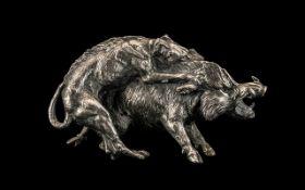 Victorian White Metal Cast Model of Dog ( Ridgeback ) Attacking Wild Boar.