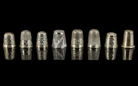 Excellent Collection of Antique and Vintage Sterling Silver Thimbles ( 8 ) In Total.