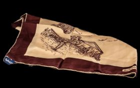 Burberry Silk Scarf, illustrations depict travel, with brown border, cream square with travel