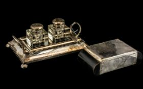 Silver Plated Double Well Desk Inkstand with pen tray, EPNS, c1930s, 9 inches (22.