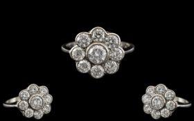Platinum - Superb Quality Diamond Set Ladies Ring - Flower head Design.