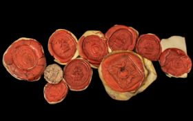 Collection of Ten Antique Wax Seal Impressions, all of interesting crests. Please see images.