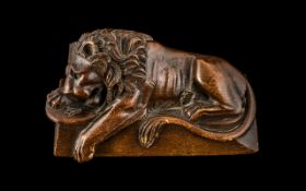 Antique 'Grand Tour' Carved Wood 'Medici' Lion, with a paw resting on a shield; 5 inches (12.