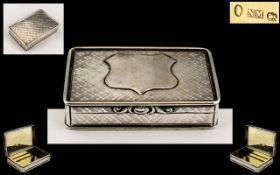 Nathaniel Mills Good Quality Solid Silver Rectangular Shaped Hinged Snuff Box of Pleasing