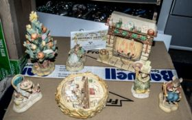 Collection of Brambly Hedge Border Fine Arts Figures, comprising a Christmas tree,