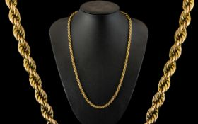 9ct Gold - Attractive Rope-Twist Design Chain. Marked 9.375. Pristine Condition, Hangs Well.