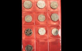 Coin Folder of Mixed British Coins, 50p pieces, silver threepences, sixpences, farthings,