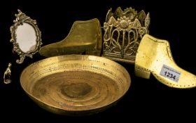 Miscellaneous Brass Oddments comprising pair of clogs, tray,