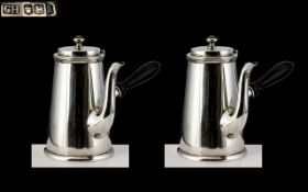 George V - Fine Pair of Sterling Silver Chocolate Pots of Solid Construction and Pleasing