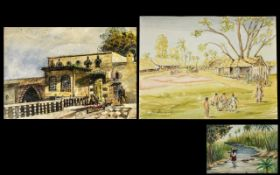 A Collection of Antique Watercolour Drawings - Indian village scene with children playing,