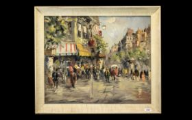 ANATOL BOUCHET. Signed Oil Painting on Board depicting a busy street scene with figures in the