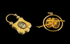 Antique Period - Excellent Quality 18ct Gold Sweetheart Pendant Depicting a 75 Field Cannon In