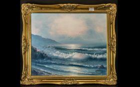 Framed Oil on Canvas Painting of a Sea Scene, framed in a decorative gilt frame.