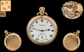 Swiss Made Excellent 9ct Gold - Keyless Open Face Pocket Watch, Signed to Dial - M. Harrison & Son