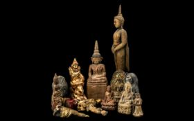 Collection of Antique and Later Carved Wood Oriental Figures of Buddha and other deities - Chinese,