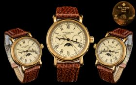 withdrawn Patek Philippe - Signed 18ct Rose Gold Gents Automatic Calendar Moon Phase Wrist Watch,