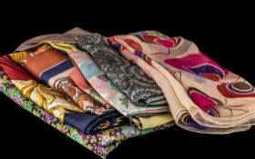 Liberty - Collection of 10 Vintage Liberty Scarves - comprising floral silk scarf square in pinks,