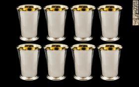 Elizabeth II Superb Set of Eight Sterling Silver Beakers / Cups,
