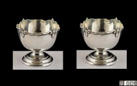 Edwardian Period Pair of Small Salts In the Form of Punch Bowls, Supported on Circular Stepped Base.