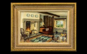 Stephen. J. Darbishire R.B.A ( Listed ) Born 1940 Lakeland Artist - Titled ' Spring Cottage Interior