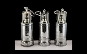 Three Rare Chrome Plated Miniature Souvenir 'Oldham Miners' Safety Lamps, battery operated,