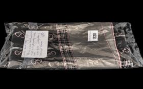 Gucci Silk Scarf, 88cm square, in shades of grey and pink with Gucci logos pattern.