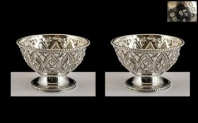 Victorian Period Top Quality Pair of Small Sterling Silver Salts of Exquisite Form and Decoration.