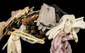 Collection of Vintage Kid Leather Gloves, eleven pairs in assorted colours,